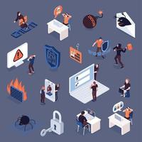 Cyber Security Isometric Icons Set Vector Illustration