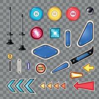 Pinball Realistic Set Vector Illustration