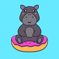 Cute hippopotamus is sitting on donuts. Animal cartoon concept. vector