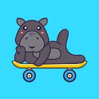Cute hippopotamus lying on a skateboard. Animal cartoon concept. vector