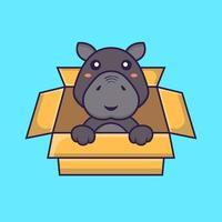Cute hippopotamus Playing In Box. Animal cartoon concept. vector