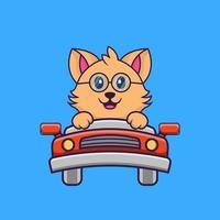lindo gato está conduciendo. vector