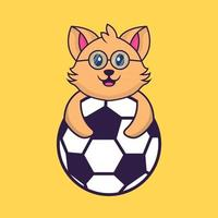 Cute cat playing soccer. vector