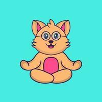 Cute cat is meditating or doing yoga. vector