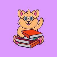 Cute cat reading a book. vector