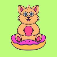 Cute cat is sitting on donuts. vector