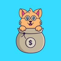 Cute cat playing in money bag. vector