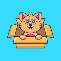 Cute cat Playing In Box. vector