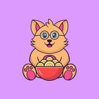 Cute cat eating ramen noodles. vector