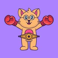 Cute cat in boxer costume with champion belt. vector