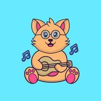 Cute cat playing guitar. vector