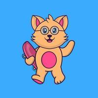 Cute cat holding a skateboard. vector
