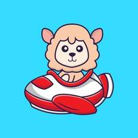 Cute sheep flying on a plane. vector