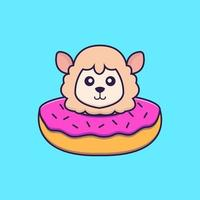 Cute sheep with a donut on his neck. vector