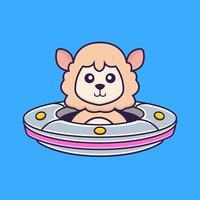 Cute sheep Driving Spaceship Ufo. vector