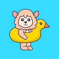 Cute sheep With Duck buoy. vector