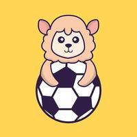 Cute sheep playing soccer. vector