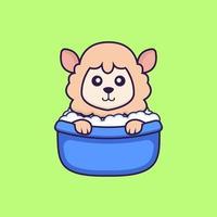 Cute sheep taking a bath in the bathtub. vector