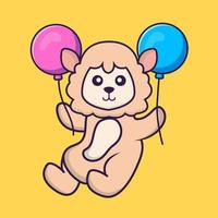 Cute sheep flying with two balloons. vector