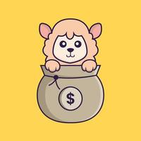Cute sheep playing in money bag. vector