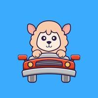linda oveja está conduciendo. vector