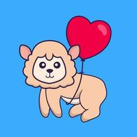 Cute sheep flying with love shaped balloons. vector