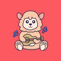 Cute sheep playing guitar. vector