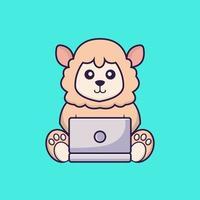 Cute sheep using laptop. vector