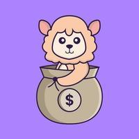 Cute sheep in a money bag. vector