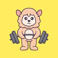 Cute sheep lifts the barbell. vector