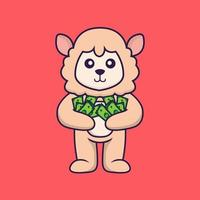 Cute sheep holding money. vector