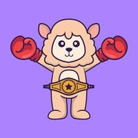 Cute sheep in boxer costume with champion belt. vector