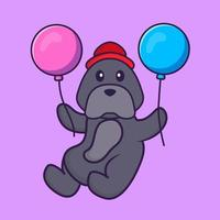 Cute dog flying with two balloons. vector