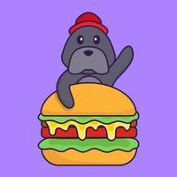 lindo perro comiendo hamburguesa. vector
