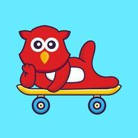 Cute bird lying on a skateboard. vector