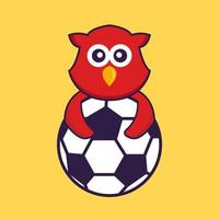 Cute bird playing soccer. vector