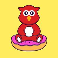 Cute bird is sitting on donuts. vector