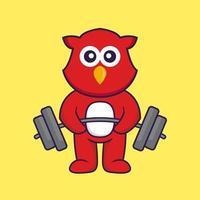 Cute bird lifts the barbell. vector