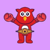 Cute bird in boxer costume with champion belt. vector