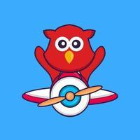 lindo pájaro volando en un avión. vector