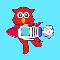 Cute bird flying on rocket. vector