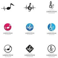 note music logo and symbol template vector icon
