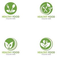 Set of Healthy Food Logo Fork With Green Leaves Decoration Vector Icon