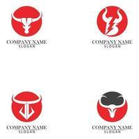 Aplicación de iconos de plantilla de logotipo y símbolos de cuerno de toro vector