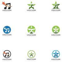 Star Note Music Icon Logo Design Template vector
