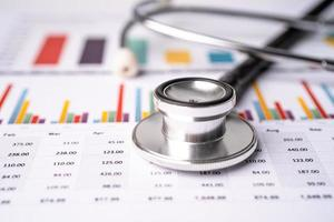Stethoscope on chart graph paper, finance, account, statistic, analytic economy Business concept. photo