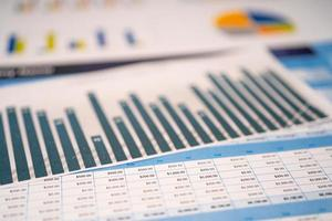 Charts Graphs spreadsheet paper. Financial development, Banking Account, Statistics, Investment Analytic research data economy, Stock exchange Business office company meeting concept. photo