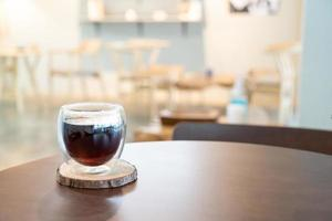 Hot Americano black coffee in coffee shop cafe and restaurant photo
