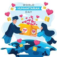World Humanitarian Day with Giving Help Concept vector