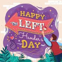 Happy Left Handers Day Concept vector